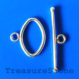 Clasp, toggle, antiqued silver-finished, 12x19mm. pkg of 8.