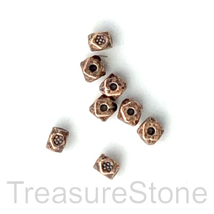 Bead, antiqued copper finished, 3mm faceted cube. Pkg of 20