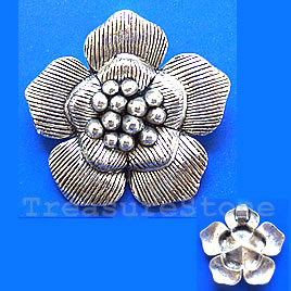 Pendant,antiqued silver-finished, 40mm flower. Sold individually