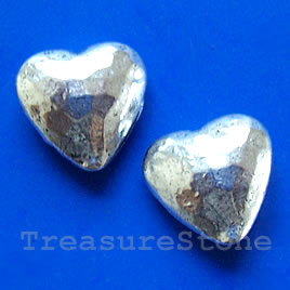 Bead, silver-finished,14x15x7mm puffed heart. Pkg of 5.