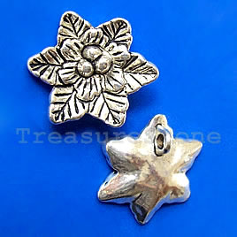 Pendant/charm, silver-finished,25x28mm flower. Pkg of 2.