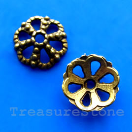 Bead cap, antiqued brass finished, 13mm. Pkg of 18.