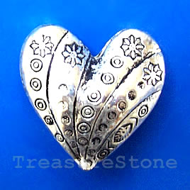 Pendant, silver-finished, 30mm heart. Sold individually.