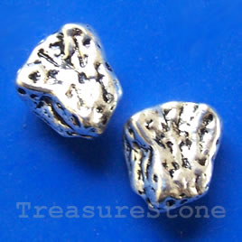 Bead, antiqued silver-finished, 14x15mm. Pkg of 4.