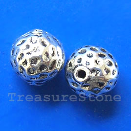 Bead, antiqued silver-finished, 13mm round. Pkg of 4.