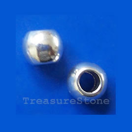 Bead, silver-finished, large hole, 7x9mm. Pkg of 10.