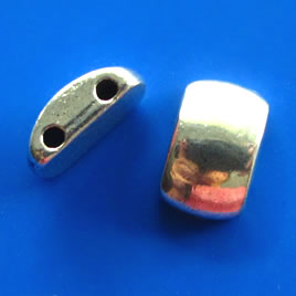 Bead, 2-strand spacer/slider, 8x13x5mm half-moon. Pkg of 6.