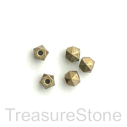 Bead, antiqued brass finished, 5mm faceted. Pkg of 18