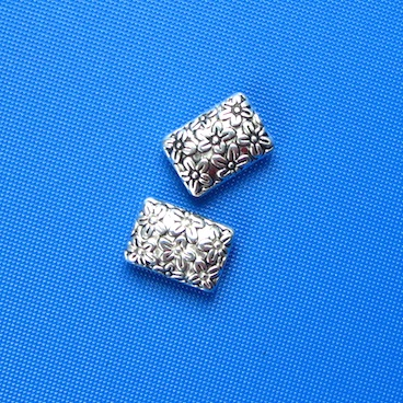Bead, antiqued silver finished, 8x12mm rectangle. Pkg of 10.