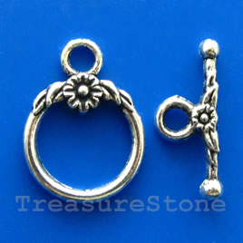 Clasp, toggle, antiqued silver-finished, 18/23mm. Pkg of 6.