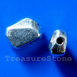 Bead, silver-finished, 8x12x6mm. Pkg of 10.