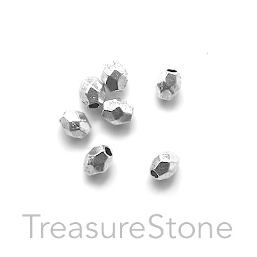 Bead, antiqued Silver Finished, 3x4mm faceted oval. Pkg of 30