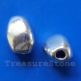 Bead, silver-finished, 9x13mm. pkg of 6.