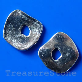 Bead, silver-finished, 16/5mm. Pkg of 8.