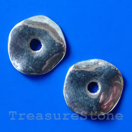 Bead, silver-finished, 18/4mm. Pkg of 8.