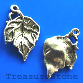 Pendant/charm, silver-finished,17x23mm leaf. Pkg of 8.