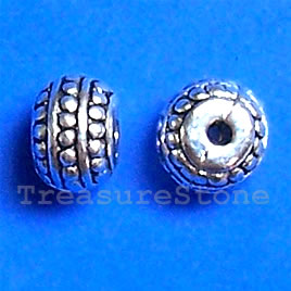 Bead, antiqued silver-finished, 8x6mm. Pkg of 15.