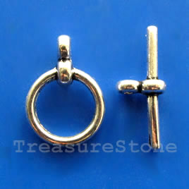Clasp, toggle, antiqued silver-finished, 12/19mm. Pkg of 10.