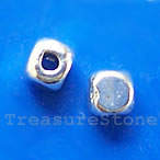 Bead, silver-finished, 4mm cube. Pkg of 25.