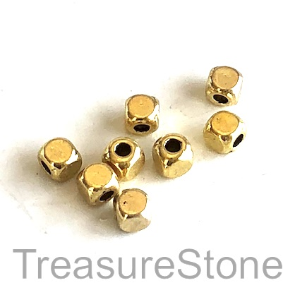 Bead, gold-finished, 4mm cube. Pkg of 25.
