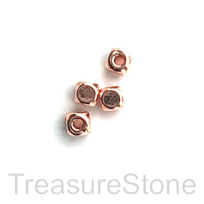 Bead, rose gold finished, 3.5mm cube. Pkg of 20