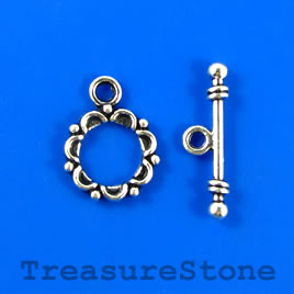 Clasp, toggle, antiqued silver-finished,14/23mm. Pkg of 8.