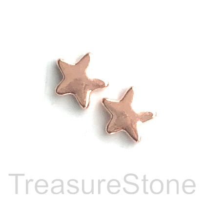 Bead, rose gold finished, 14mm star. Pkg of 8