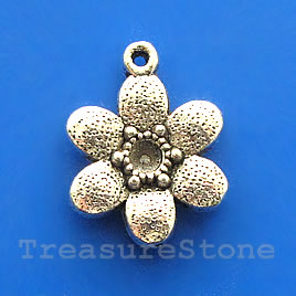 Pendant/charm, silver-finished, 18mm flower. Pkg of 5.