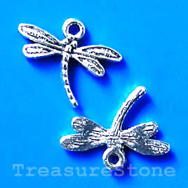Charm/Pendant, silver-finished, 15x18mm dragonfly. Pkg of 17.