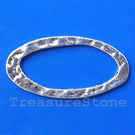 Bead, silver-finished, 20x29mm hammered oval. Pkg of 5.
