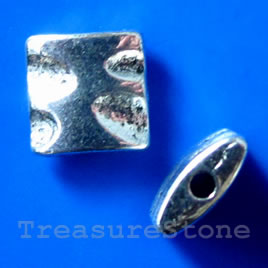 Bead, silver-finished, 9x3mm puffed square. Pkg of 15.