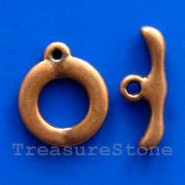 Clasp, toggle, antiqued silver-finished, 18/22mm. Pkg of 4.