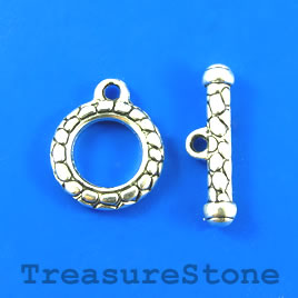 Clasp, toggle, antiqued silver-finished, 20mm/30mm. Pkg of 4