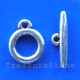 Clasp, toggle, antiqued silver-finished,15/24mm. Pkg of 5.