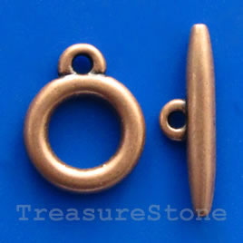 Clasp, toggle, copper-finished, Nickel Free, 15/25mm. Pkg of 5.