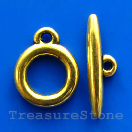 Clasp,toggle, antiqued gold-finished,15/24mm. Pkg of 5.