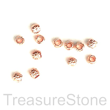 Bead, rose gold finished, 3mm drum w flower. Pkg of 25.