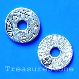 Bead, silver-finished, 16mm. Pkg of 10