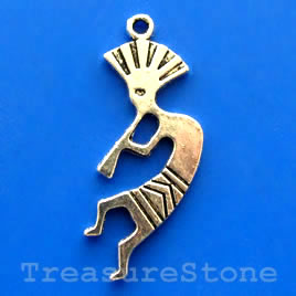 Pendant/charm, 16x36mm Kokopelli. Pkg of 5.