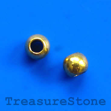 Bead, antiqued gold- finished, large hole, 8x7mm rondelle. 20pcs