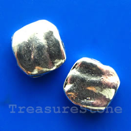 Bead, antiqued silver-finished, 11x12x3mm. Pkg of 8.