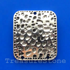 Connector, silver-finished, 28x32mm. Pkg of 2.