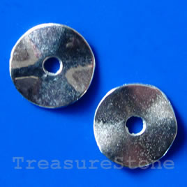 Bead, silver-finished, 14/3mm. Pkg of 12.