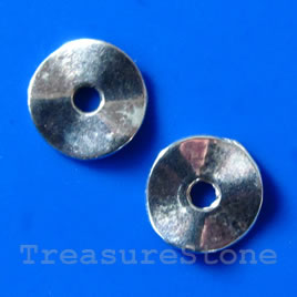 Bead, silver-finished, 9/2mm. Pkg of 20.