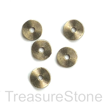 Bead, brass-finished, 9mm hammered disc. Pkg of 20.
