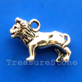 Pendant/charm, silver-finished,15x24mm lion. Pkg of 4.