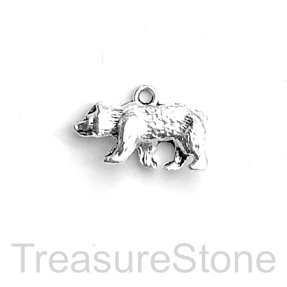 Charm, silver-finished, 12x24mm bear. Pkg of 4.