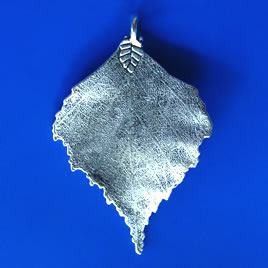 Pendant, silver-finished, 45x67mm leaf. Sold individually.