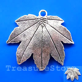 Pendant, silver-finished, 47x38mm leaf. Pkg of 2.