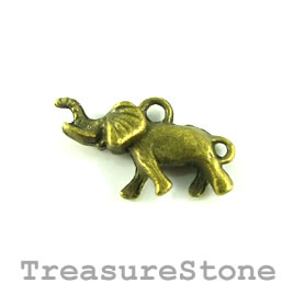 Charm, brass-plated, 12x23 elephant. Pkg of 8.